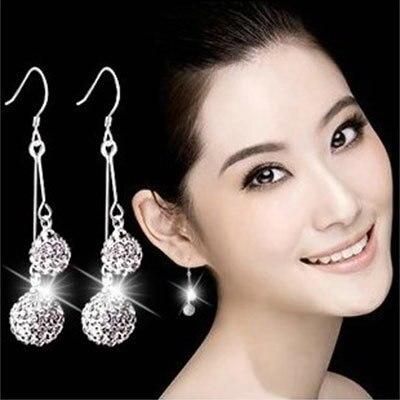 Hot Design Silver Plated Earrings For Women Crystal Double Ball Drop Dangle Earrings Female Wedding Jewelry