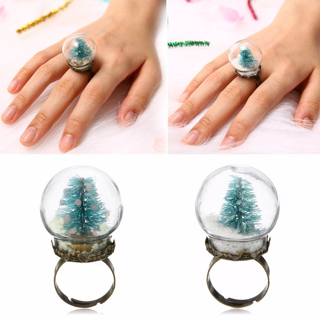 Vintage Xmas Party Jewelry Accessories Christmas Tree Glass Snowball Rings Shellhard Charming Glow In The Dark Finger Ring