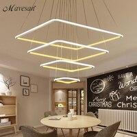 LED Pendant Lights Modern 80CM 60CM 40CM 3 Square RingsFor Living Room Dining Room Light Pendant
