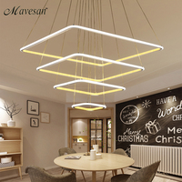 LED Pendant Lights Modern 80CM 60CM 40CM 3 Square RingsFor Living Room Dining Room Light Pendant