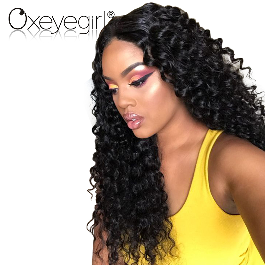 Oxeye girl Lace Front Human Hair Wigs With Baby Hair Deep Wave Brazilian Hair Wigs For Women Natural Black None Remy Lace Wig
