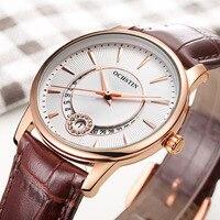 Ladies Quartz Watch OCHSTIN Clock Women Luxury Watches Gold Case Brown Leather Luxury Crystal Watches Woman