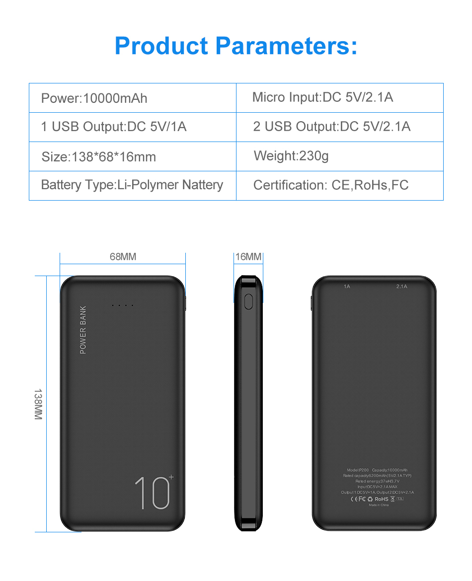 FLOVEME Power Bank 10000mAh Portable Charger For Samsung Xiaomi mi Mobile External Battery Powerbank 10000 mAh Poverbank Phone 6