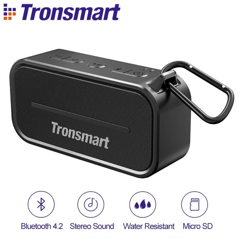 Tronsmart Element T2 Bluetooth 4.2 Outdoor Water Resistant Speaker Portable and Mini Speaker- Black ufo shape portable mini rechargeable bluetooth v2 1 speaker black orange