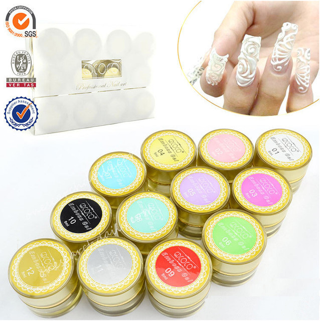 12 Emboss UV Gel LED Soak Off 3D 4D Lace Sculpture Nail Art Tips GDCOCO Gel beautiful high quality