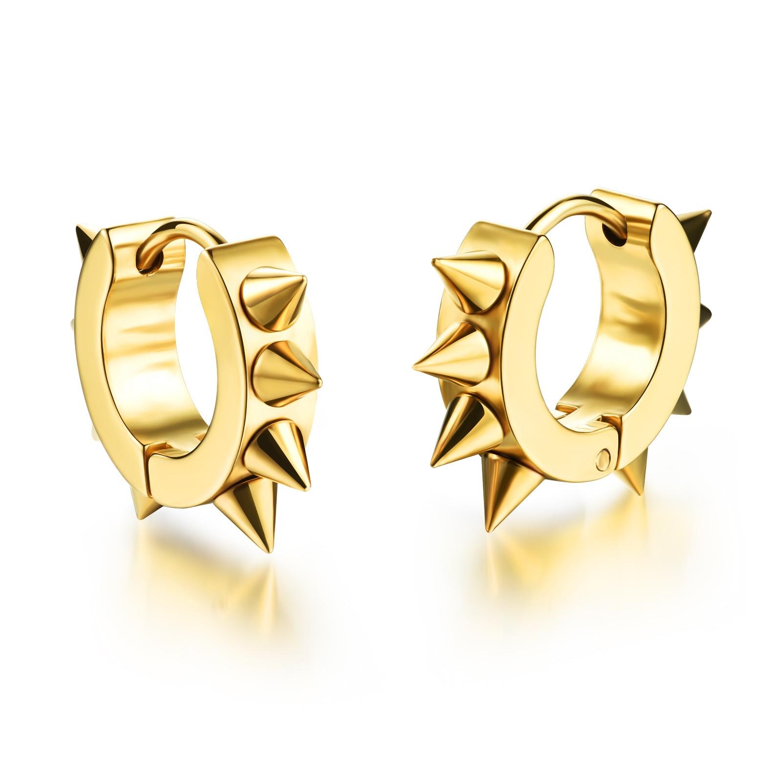 Personality Stainless Steel Rivet Design Hoop Earrings For Man Rock Punk Style 316L Steel 4mm*13mm Men Jewelry Earrings 3 Colors