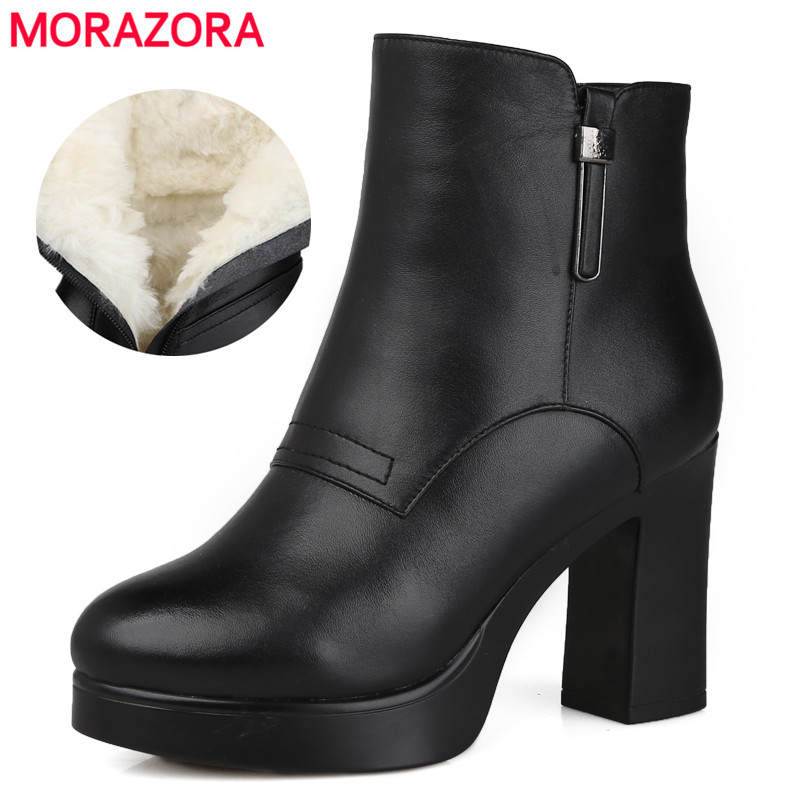 MORAZORA 2018 new ankle boots women wool warm snow boots high heels genuine leather boots round toe platform winter boots shoes цены онлайн