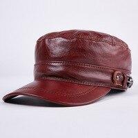 leather flat cap male winter warm peaked cap hat