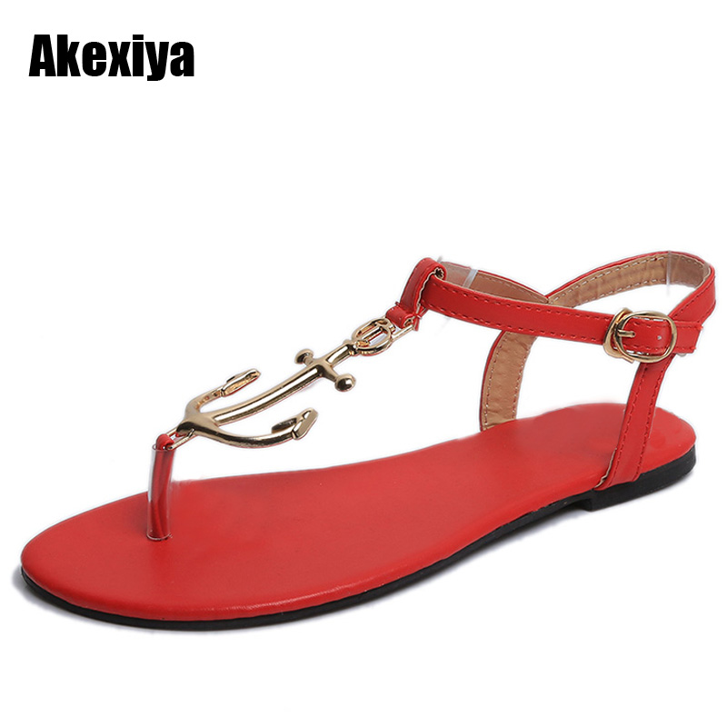2018 PU Leather Women Sandals Hot Sale Fashion Summer Sweet Women Flats Heel T-strap Sandals Ladies Shoes blue m635 lanyuxuan 2017 new hot sale sandals