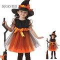 2017 niñas 1 witch dress + 1 del casquillo del sombrero de princesa Vestidos de partido Del Tutú Del Bebé Niños Ropa de carnaval de halloween Cosplay traje
