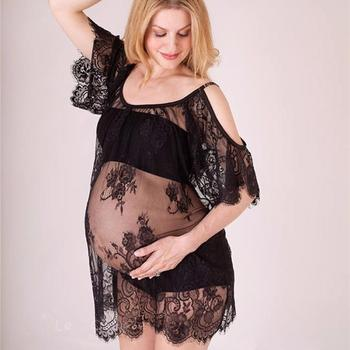 Maternity Dresses Women Pregnants Sexy Photography Drops  Dresse Lace Strapless Dress Платье