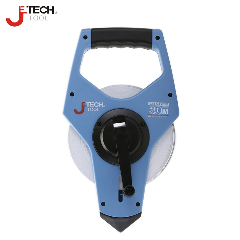 Jetech durable 30m 50m metric scale open reel long steel tape measuring measurement ruler tools with nylon coating glass fiber tape measuring scale of 20 meters tape measurement tools