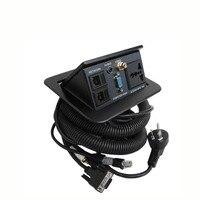 Черный Цвет мультимедийный стол Розетка с 1x AC универсальный Мощность, 1x3. 5 аудио, 1xvideo, 1xvga, 2x RJ45 сети Функциональный Офис разъем