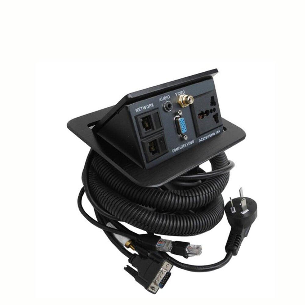 Prise de bureau multimédia couleur noire avec alimentation universelle 1x AC, 1x3. 5 Audio, 1 xVideo, 1 xVGA, 2x prise de bureau fonctionnelle réseau RJ45