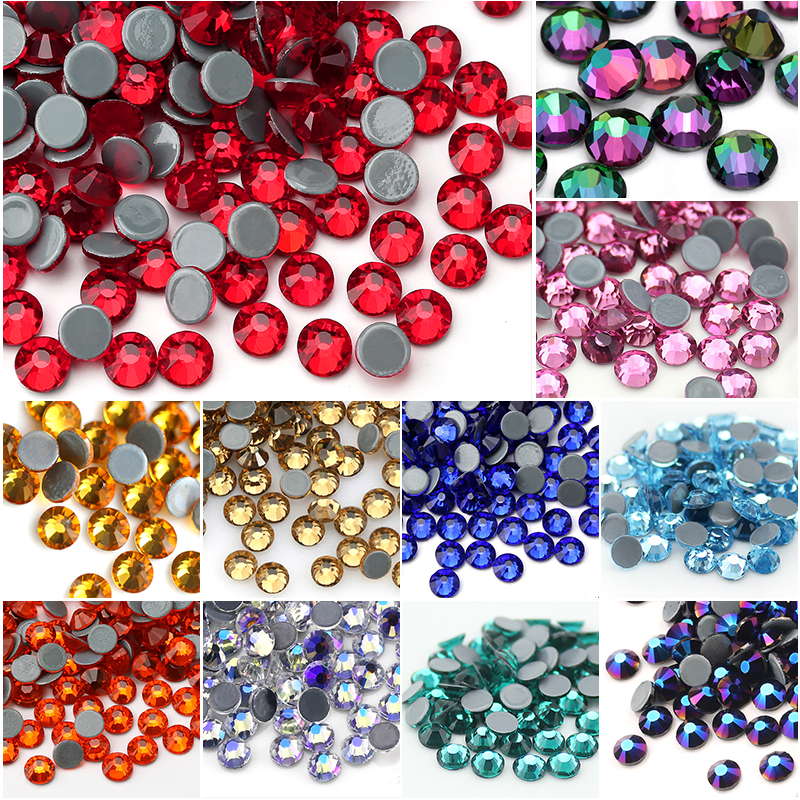 QIAO Multi-Color SS6-SS30 Crystal Glass Glitter Rhinestone Flatback Hot fix Rhinestones For Nail Art Sewing & Fabric Decoretion