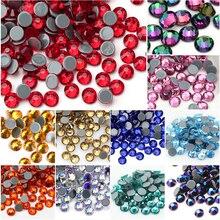 QIAO Çok Renkli SS6 SS20 Kristal Cam Taklidi Flatback Sıcak düzeltme Rhinestones Sıcak sabitleme Elbise Elbise Süslemeleri