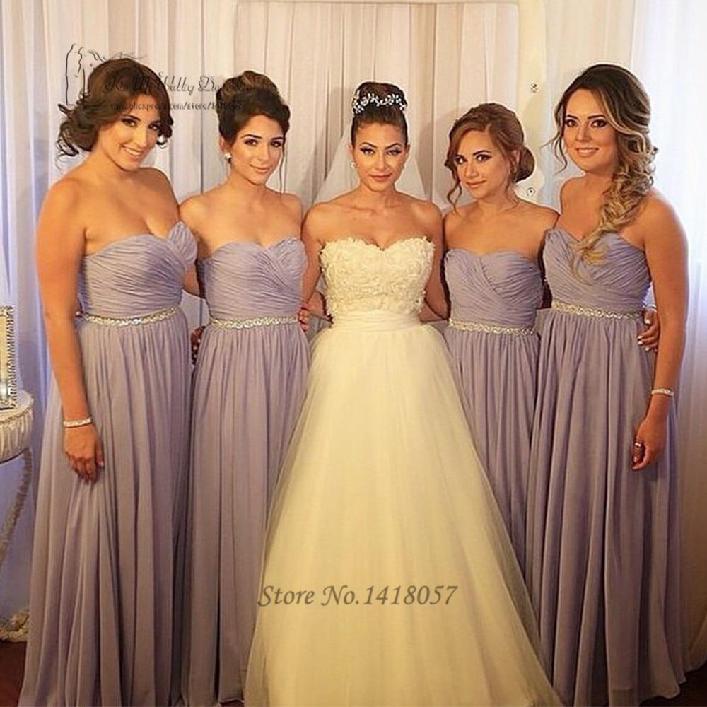 Brown Crystal Belt Bridesmaid Dress Long Pleated Chiffon Wedding Guest Dresses Custom Made Vestidos De Madrinha In From Weddings