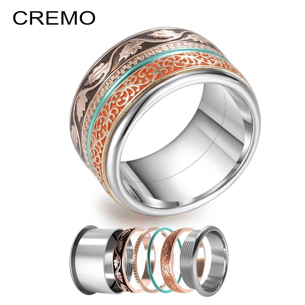 Cremo boho anéis feminino titânio anel de aço inoxidável casamento luxo moda boêmio jóias