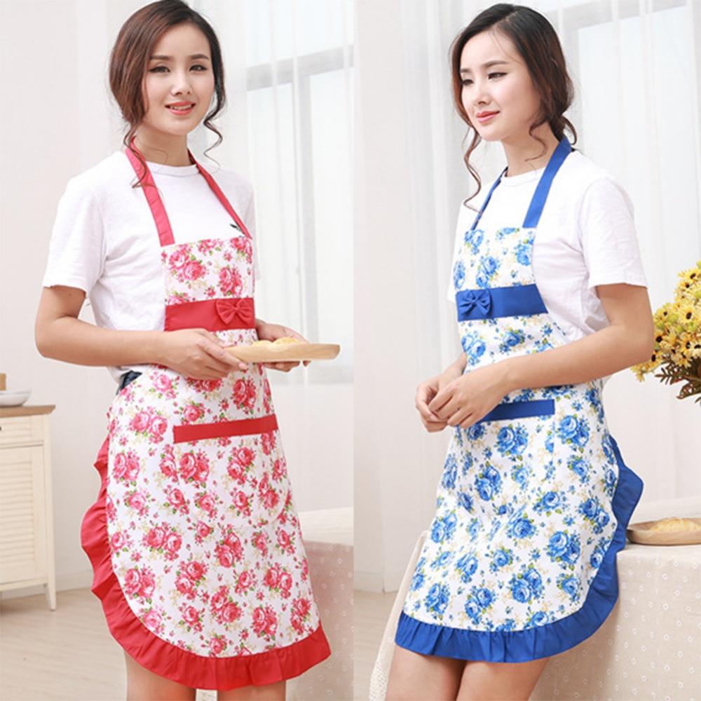 Printed Women Apron with Pockets Waterproof Floral Bib Kitchen ...