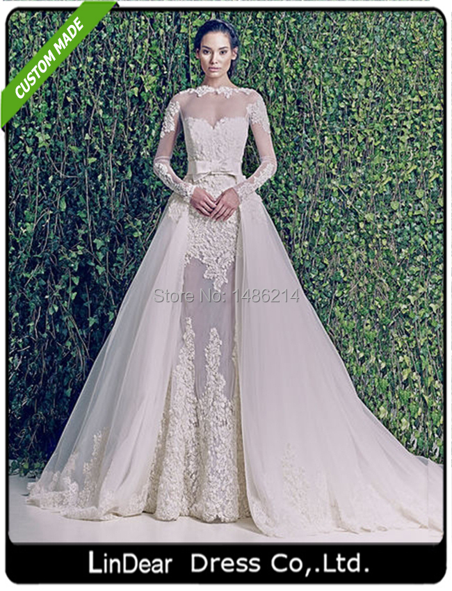 2015 elegant a line bridal gown long sleeves detached for Wedding dress with removable train
