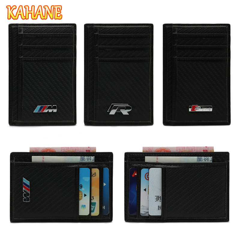 KAHANE Carbon Fiber Men Wallet Car Driver License Bag Credit Card Bag FOR Audi A3 A4 A6 BMW E39 E90 F30 E46 VW Golf Polo Passat