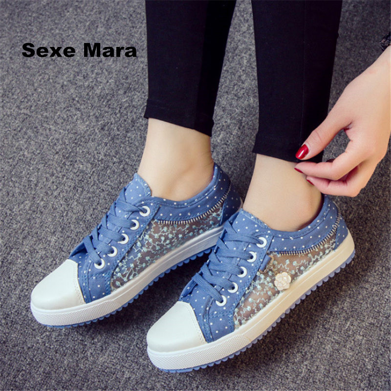 Women shoes summer canvas shoes woman casual flat shoes Light Breathable net Denim Trainers lace up zapatos mujer tenis feminino summer women shoes casual cutouts lace canvas shoes hollow floral breathable platform flat shoe sapato feminino lace sandals