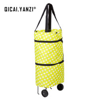 QICAI YANZI Reusable Large Supermarket Shopping Bags With Wheels Portable Oxford Fabric Eco Hand Bag Foldable