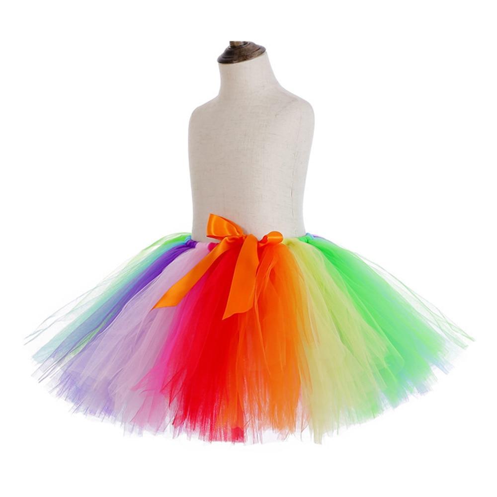Rainbow Skirt Knee Length Nylon Mesh Tulle Skirt Kids Back to School Costume Happy Easter Party Tutu Skirt with Ribbon Bowknot (3)