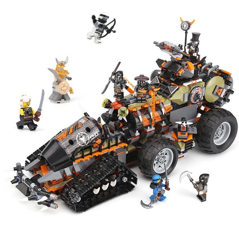 Ninjagoed Dieselnaut Building Blocks Bricks Compatible Legoings Ninjagoes 70654 Ninja Figures Hunted Car Model Toys Gift