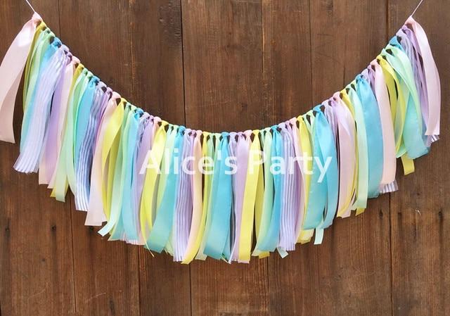 New Rag Tie Pastel Rainbow Birthday Banner Unicorn Highchair Bunting Nursery Garland 1st Theme Cake
