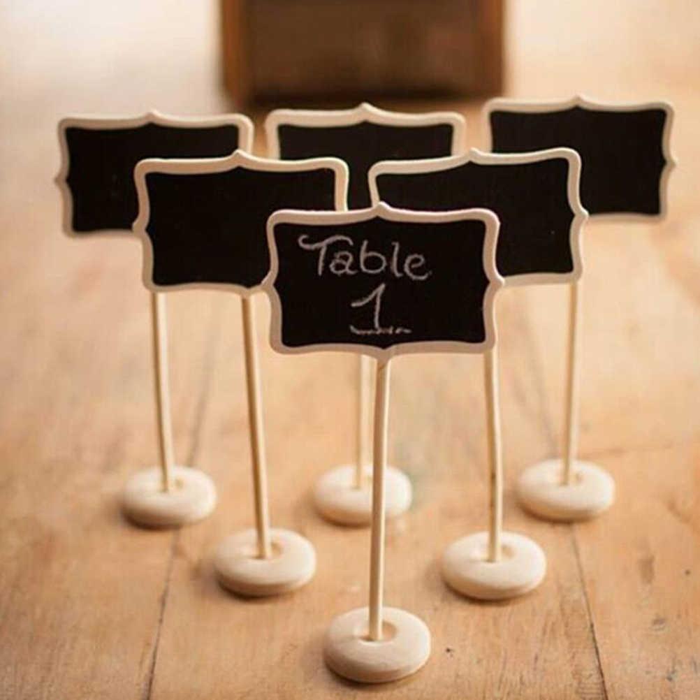 10 ชิ้น/เซ็ต Mini ไม้ขนาดเล็กชอล์กกระดานดำงานแต่งงานห้องครัวร้านอาหารป้าย Chalkboard เขียนหมายเหตุข้อความสีไม้