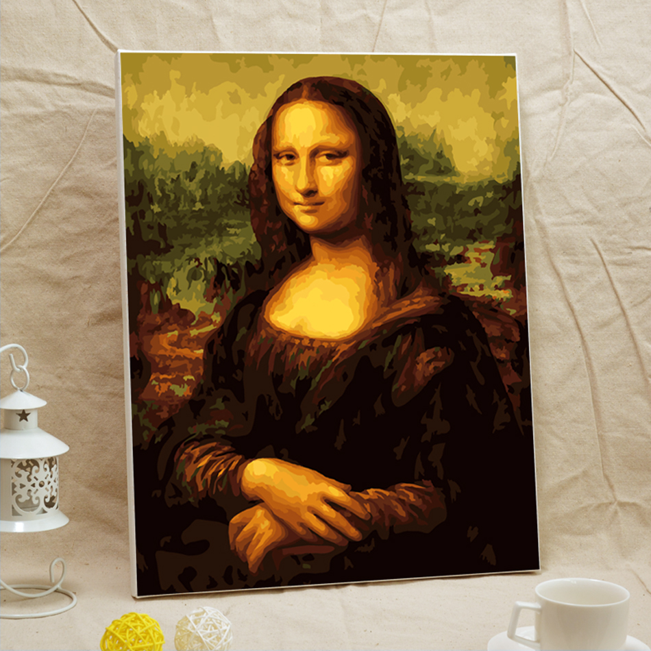 Cuadro La Mona Lisa Us 35 99 Framed Mona Lisa Diy Oil Painting By Numbers Wall Art Cuadros Decoracion Wall Pictures For Living Room 40 50cm Posters 41109 In Painting