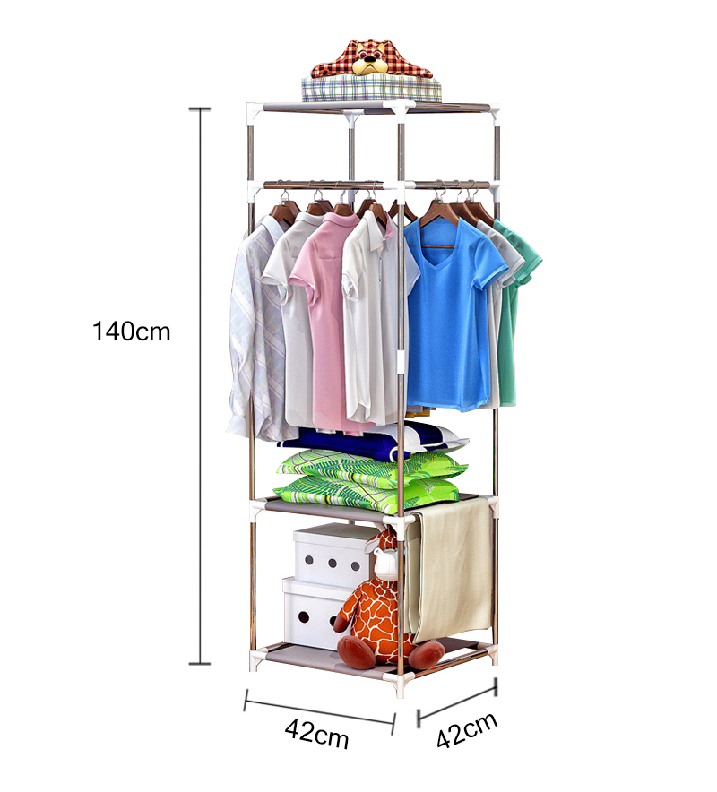 Metal Wardrobe 3 Layer Clothes Coat Rack Bedroom Floor Hanging Clothes Storage Shelves 140cmx42cmx42cm Balcony Drying Racks B438