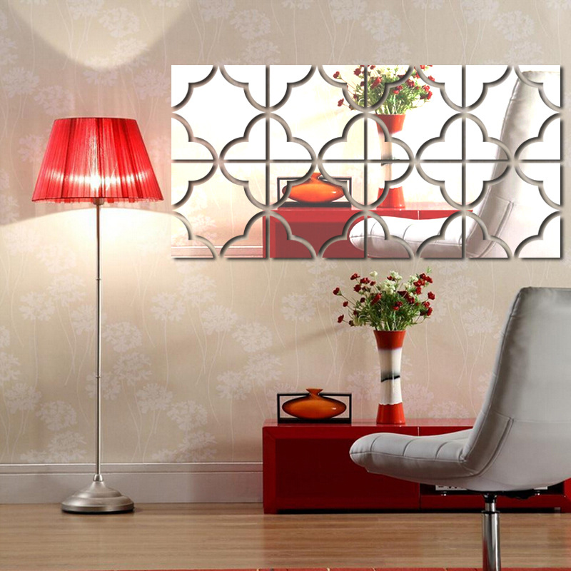 Acrylic mirror wall stickers diy home decor 3d large for Mirror wall art