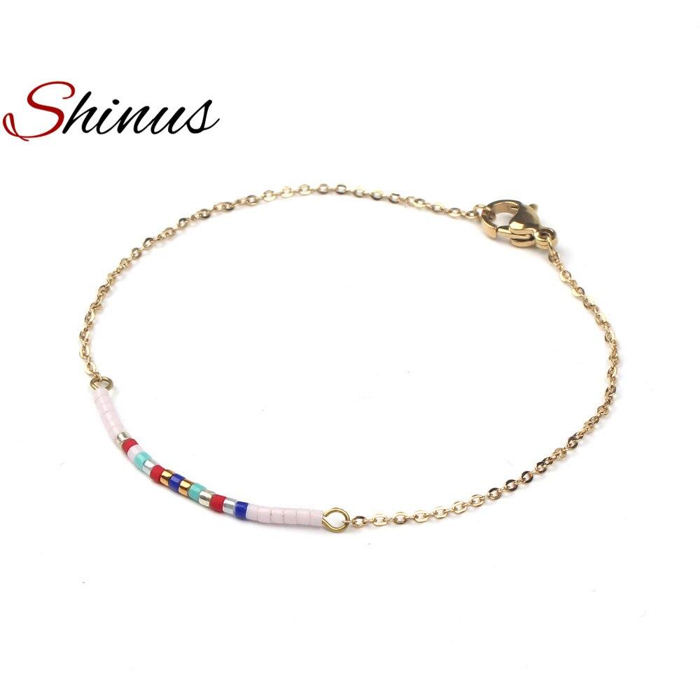 Shinus Bracelets Women Bracelet Jewelry Seed Beads Stainless Steel Gold Color Link Chain Romantic Boho Womens Gift 2018 Trendy
