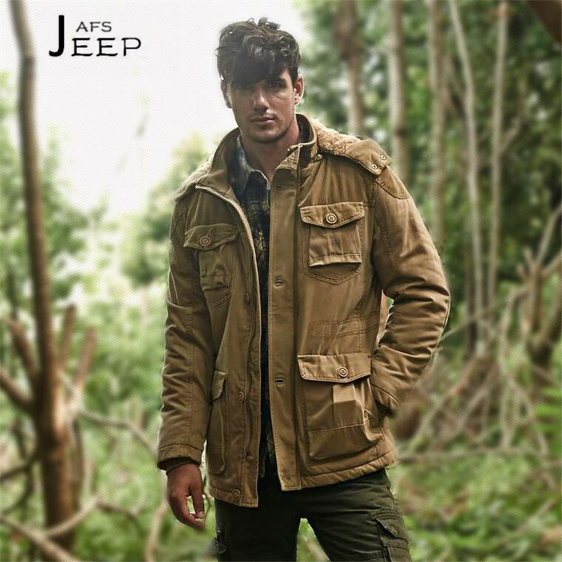 AFS JEEP Promotion Price Military thickness 100% Cotton Coat,Cashmere inner side Long parka coats,winter Real Mans good coats 2015 real promotion space cotton coat jacket bolsa cherry free herbal tea wholesale agent huang ju oem processing one generation