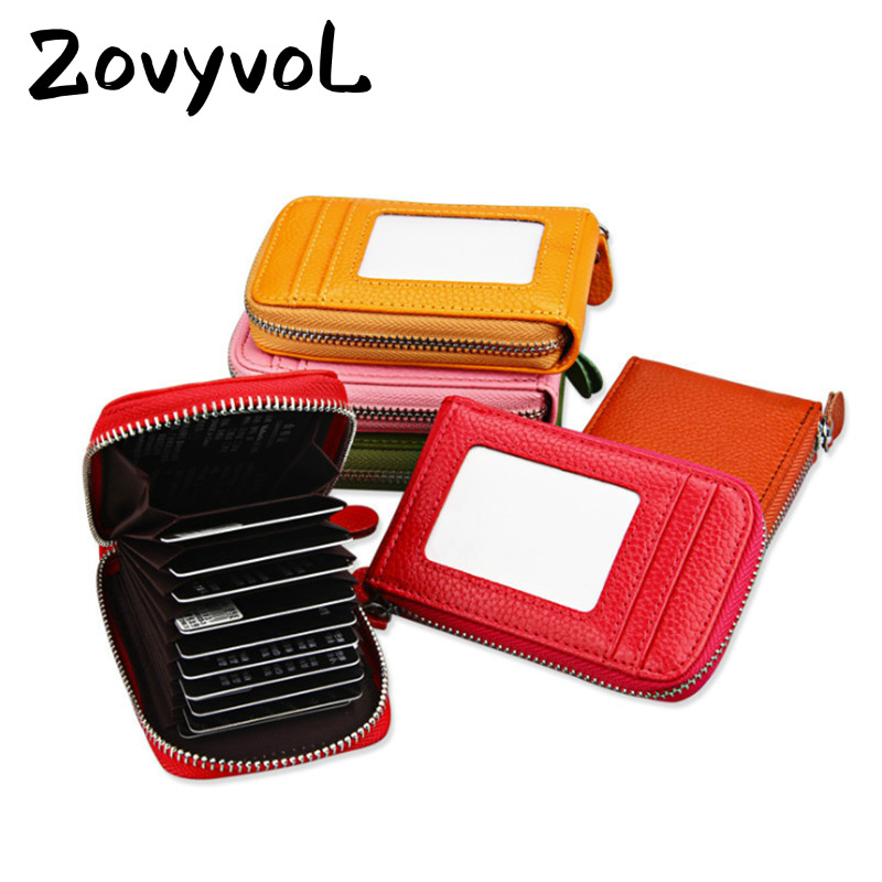 ZOVYVOL 2019 NEW Unisex 11 Color Blocking Wallets With RFID Genuine Leather Zipper Credit Card Holder ID And Holders