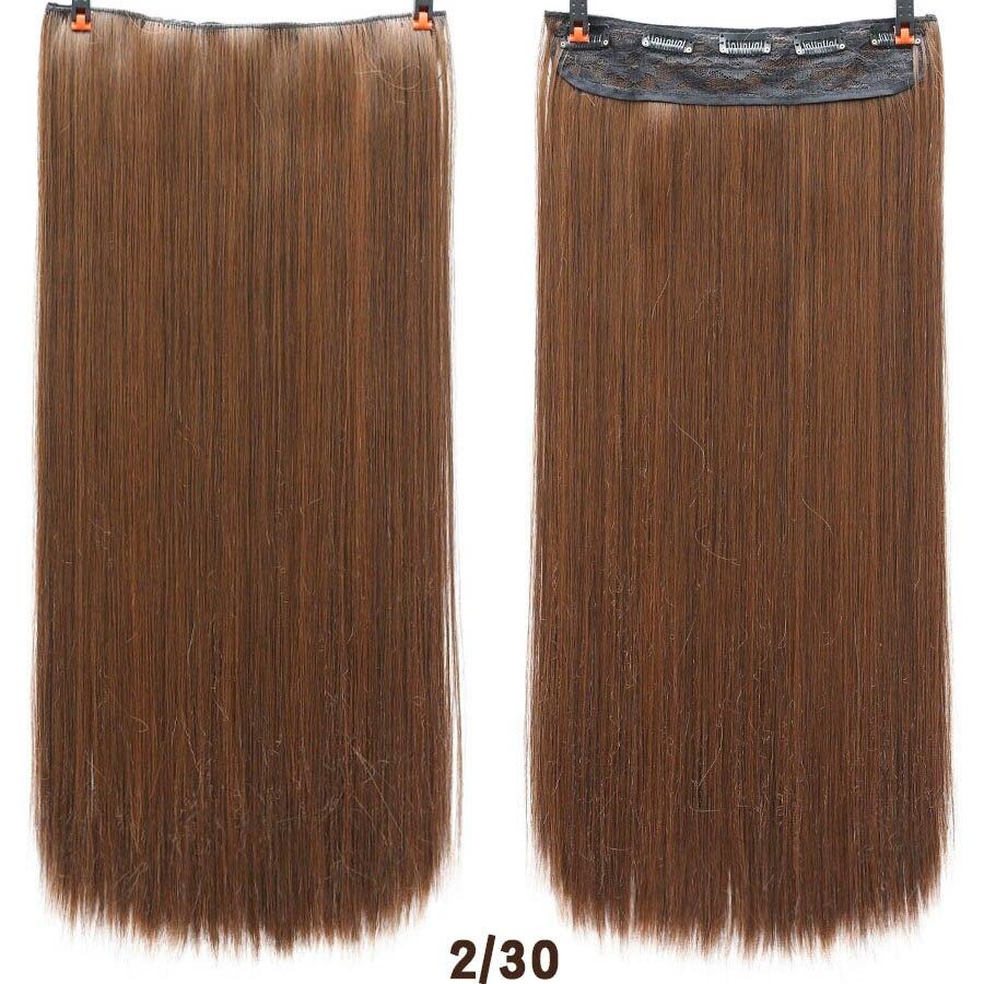 SHANGKE волосы 24 ''длинные прямые женские волосы на заколках для наращивания черный коричневый высокая температура Синтетические волосы кусок - Цвет: 2M30