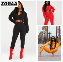 ZOGAA Solid Tracksuit women 2 Piece Set Top And Pants Hooded Pieces Sets Women Clothing Suits Sexy Two Outfits For