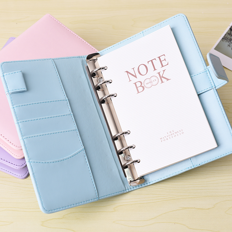 RuiZe cute notebook A5 spiral planner A6 pu leather note book cover diary agenda kawaii 6 ring binder refill loose leaf notebook a5 a6 a7 muji style blank black paper loose leaf notebook spiral inner page refill note book journal travel planner dairy diary