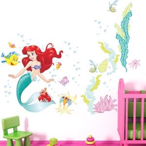 Русалочка Ариэль принцесса Sealife рыбные пузырьки настенные наклейки для детской комнаты украшение дома Diy фотообои с героями аниме художественные настенные наклейки для девочек
