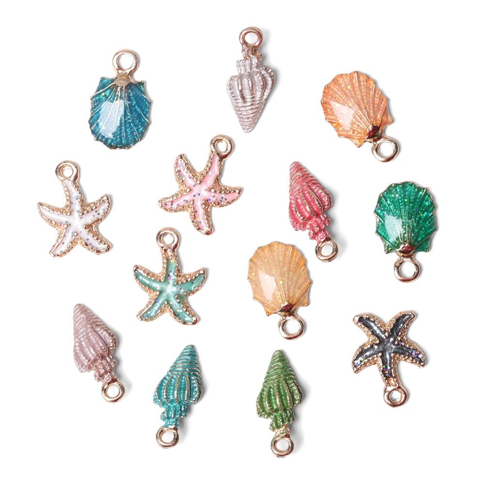 13PCS Fashion Conch Sea Shell Beautiful Charms Pendant Carfts DIY Jewelry Making