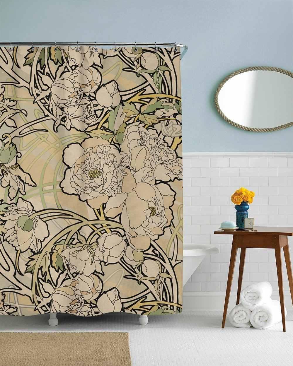 Floral Shower Curtain Set Creme Art Nouveau Flowers Nature Bathroom Decor With 12 Hooks Included