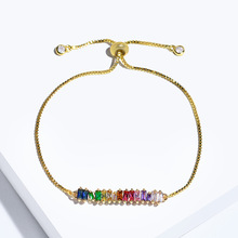 цена на New delicate rainbow chain Gold charm bracelet Adjustable tiny sparking shiny CZ stone Bangles for women Jewelry Party gift