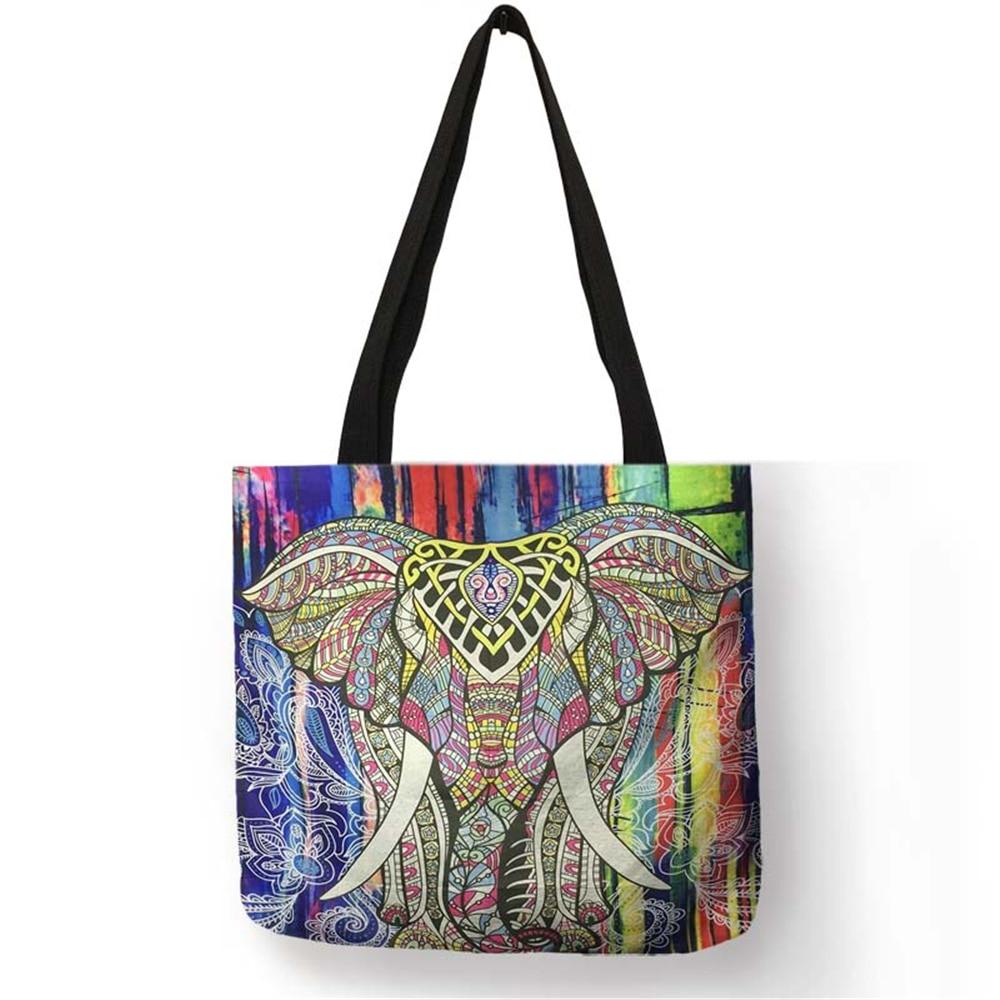 все цены на Customized Elephant Mandala Print Linen Tote Bag for Women Fashion Reusable Shopping Bags Printed Traveling School Shoulder Bags