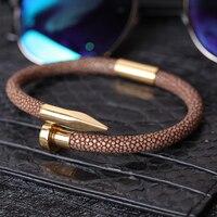 men bracelet/Luxury Men Stingray Nail Bracelet with Stainless Steel Nail Bracelets For Men brown yellow green Leather Bracelet