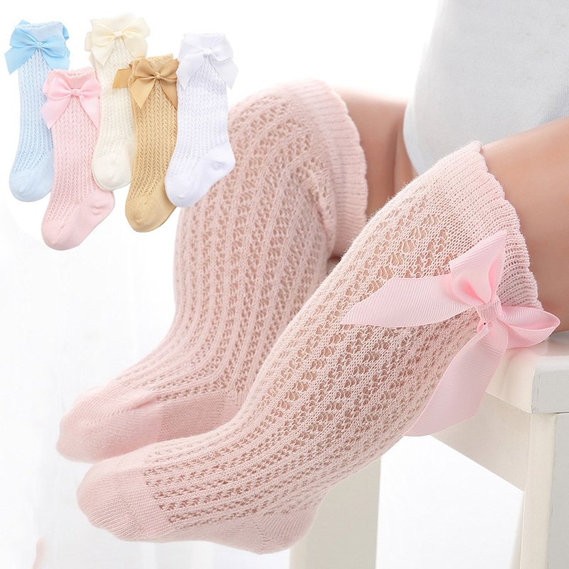 Nette Bowknot Baby Socken Baumwolle Bögen Baby Mädchen Knie Socken Frühling Sommer Mesh Kinder Infant Kleinkind Knie Hohe Socken Sokken 0-2Y
