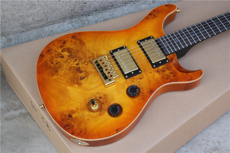 good quality new yellow brown burl top electric guitar 6 strings guitarra in electric guitar. Black Bedroom Furniture Sets. Home Design Ideas