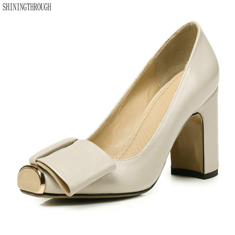 New metal toe Women Pumps High Heels genuine leather Women shoes Elegant Ladies party wedding Shoes
