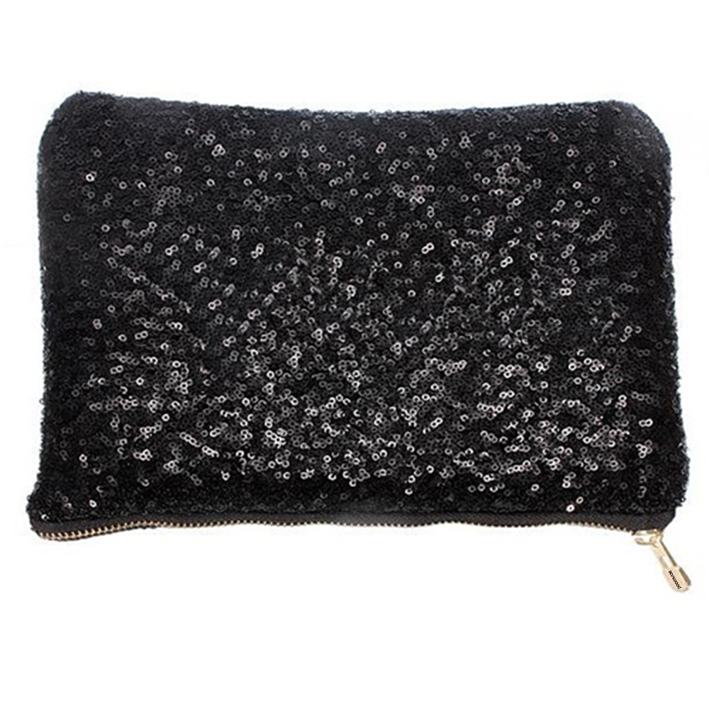 Fashion Dazzlling Women's Make Up Cosmetic Bag Beautician Sequins Clutch Leopard Party Bag Handbag Pouch For Women BVBU